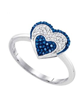10kt Yellow Gold Womens Round Blue Color Enhanced Diamond Small Heart Cluster Ring 1/10 Cttw