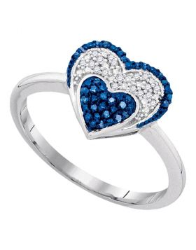 10kt White Gold Womens Round Blue Color Enhanced Diamond Small Heart Cluster Ring 1/10 Cttw