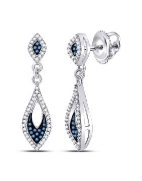 10kt White Gold Womens Round Blue Color Enhanced Diamond Dangle Earrings 1/3 Cttw