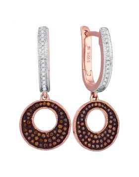 10kt Rose Gold Womens Round Red Color Enhanced Diamond Circle Dangle Earrings 3/8 Cttw