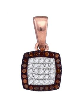 10kt Rose Gold Womens Round Red Color Enhanced Diamond Square Cluster Pendant 1/8 Cttw