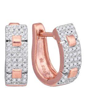 10kt Rose Gold Womens Round Diamond Huggie Hoop Earrings 1/4 Cttw