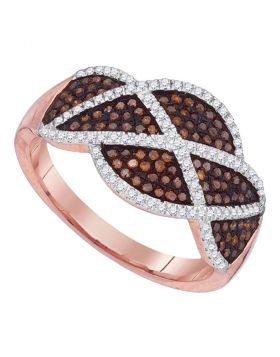 10kt Rose Gold Womens Round Red Color Enhanced Diamond Segmented Fashion Ring 1/2 Cttw
