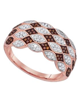 10kt Rose Gold Womens Round Red Color Enhanced Diamond Fashion Ring 1/3 Cttw