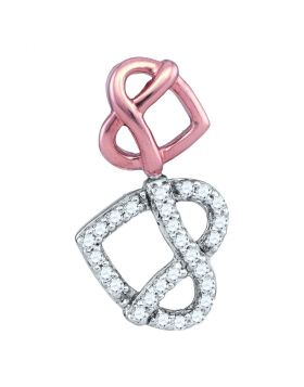 10kt Two-tone Gold Womens Round Diamond Double Heart Pretzel Pendant 1/6 Cttw