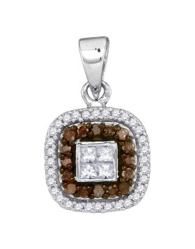 10kt White Gold Womens Round Cognac-brown Color Enhanced Diamond Square Frame Pendant 1/3 Cttw