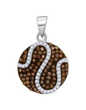 10kt White Gold Womens Round Cognac-brown Color Enhanced Diamond Circle Cluster Pendant 1/2 Cttw