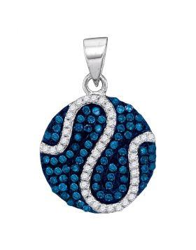 10kt White Gold Womens Round Blue Color Enhanced Diamond Circle Stripe Pendant 1/2 Cttw