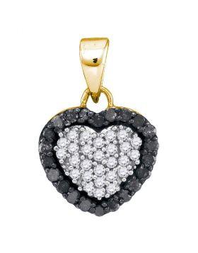 10kt Yellow Gold Womens Round Black Color Enhanced Diamond Small Heart Pendant 1/3 Cttw