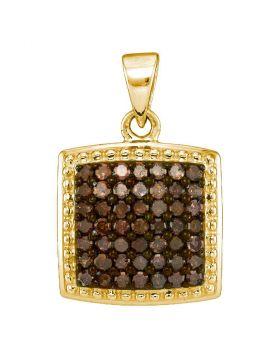 10kt Yellow Gold Womens Round Cognac-brown Color Enhanced Diamond Square Pendant 1/2 Cttw