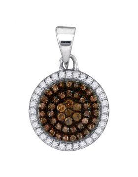 10kt White Gold Womens Round Cognac-brown Color Enhanced Diamond Circle Frame Cluster Pendant 1/3 Cttw