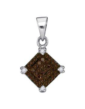 10kt White Gold Womens Round Cognac-brown Color Enhanced Diamond Square Pendant 1/6 Cttw