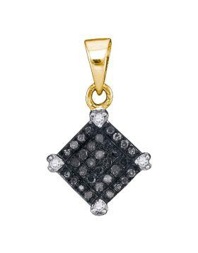 10kt Yellow Gold Womens Round Black Color Enhanced Diamond Diagonal Square Pendant 1/6 Cttw