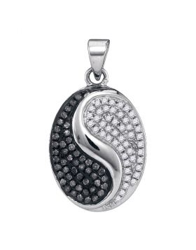 10kt White Gold Womens Round Black Color Enhanced Diamond Oval Ying Yang Pendant 1/3 Cttw
