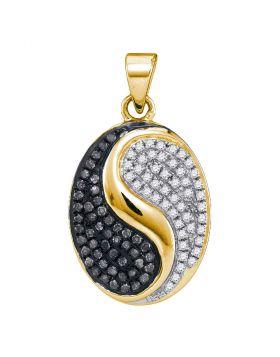 10kt Yellow Gold Womens Round Black Color Enhanced Diamond Oval Yin Yang Pendant 1/3 Cttw