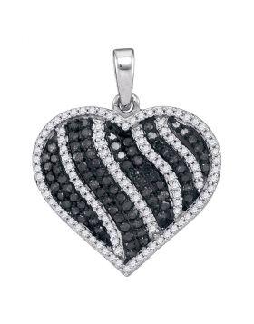 10kt White Gold Womens Round Black Color Enhanced Diamond Striped Heart Pendant 1-1/2 Cttw