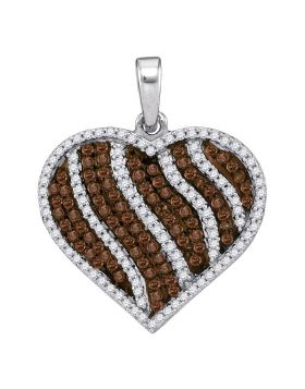 10kt White Gold Womens Round Cognac-brown Color Enhanced Diamond Heart Stripe Pendant 1-1/2 Cttw