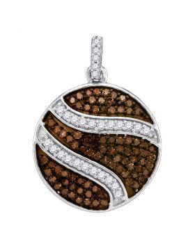 10kt White Gold Womens Round Cognac-brown Color Enhanced Diamond Circle Cluster Pendant 3/4 Cttw