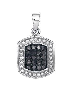 10kt White Gold Womens Round Black Color Enhanced Diamond Rectangle Cluster Pendant 1/5 Cttw
