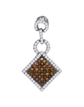 10kt White Gold Womens Round Cognac-brown Color Enhanced Diamond Diagonal Square Pendant 1/3 Cttw