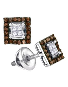 10kt White Gold Womens Round Cognac-brown Color Enhanced Diamond Square Cluster Earrings 1/3 Cttw