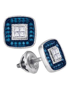 10kt White Gold Womens Round Blue Color Enhanced Diamond Square Frame Cluster Earrings 1/3 Cttw