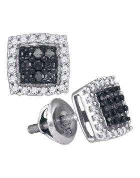 10kt White Gold Womens Round Black Color Enhanced Diamond Square Frame Cluster Earrings 1/2 Cttw