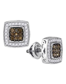 10kt White Gold Womens Round Brown Color Enhanced Diamond Square Cluster Earrings 1/2 Cttw