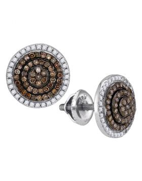 10kt White Gold Womens Round Cognac-brown Color Enhanced Diamond Concentric Cluster Earrings 1/2 Cttw