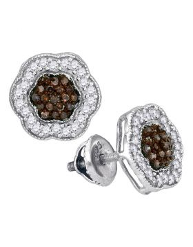 10kt White Gold Womens Round Cognac-brown Color Enhanced Diamond Polygon Cluster Earrings 1/2 Cttw