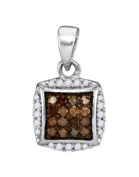 10kt White Gold Womens Round Cognac-brown Color Enhanced Diamond Square Cluster Pendant 1/4 Cttw