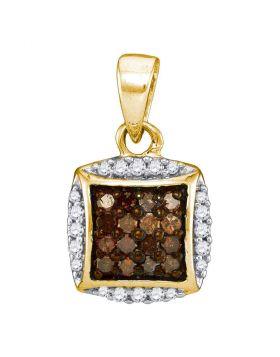 10kt Yellow Gold Womens Round Cognac-brown Color Enhanced Diamond Square Cluster Pendant 1/4 Cttw