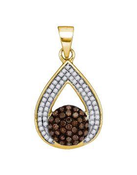 10kt Yellow Gold Womens Round Cognac-brown Color Enhanced Diamond Teardrop Cluster Pendant 1/3 Cttw