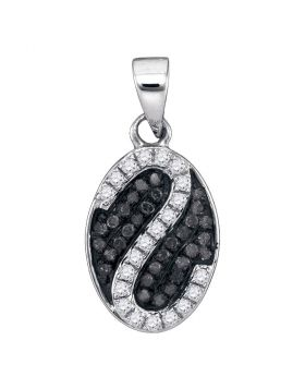 10kt White Gold Womens Round Black Color Enhanced Diamond Oval Stripe Cluster Pendant 1/4 Cttw