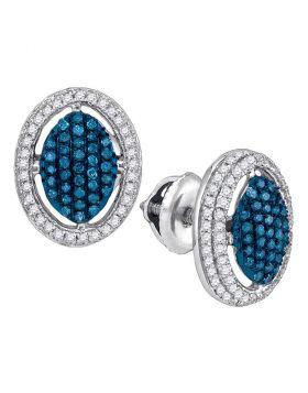 10kt White Gold Womens Round Blue Color Enhanced Diamond Oval Frame Cluster Earrings 1/2 Cttw