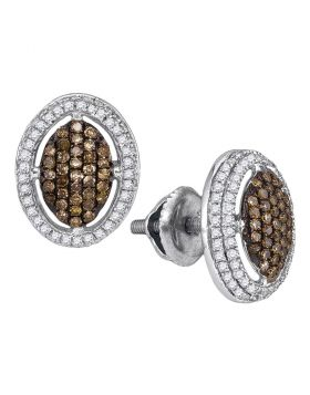 10kt White Gold Womens Round Cognac-brown Color Enhanced Diamond Oval Cluster Earrings 1/2 Cttw