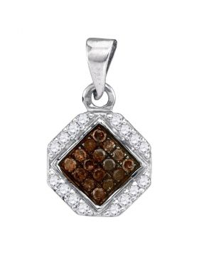 10kt White Gold Womens Round Cognac-brown Color Enhanced Diamond Geometric Cluster Pendant 1/4 Cttw