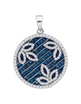 10kt White Gold Womens Round Blue Color Enhanced Diamond Circle Floral Pendant 3/4 Cttw