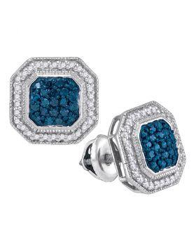 10kt White Gold Womens Round Blue Color Enhanced Diamond Octagon Frame Cluster Earrings 1/2 Cttw