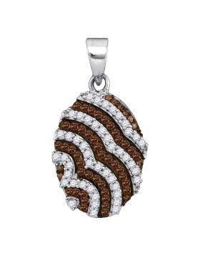 10kt White Gold Womens Round Cognac-brown Color Enhanced Diamond Oval Stripe Pendant 1/3 Cttw