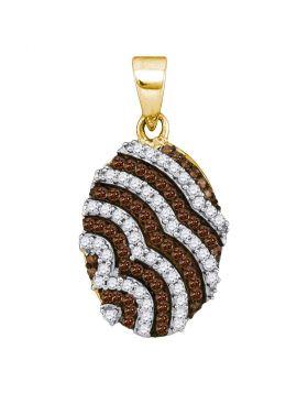 10kt Yellow Gold Womens Round Cognac-brown Color Enhanced Diamond Oval Stripe Pendant 1/3 Cttw