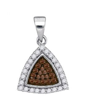 10kt White Gold Womens Round Cognac-brown Color Enhanced Diamond Triangle Frame Cluster Pendant 1/3 Cttw