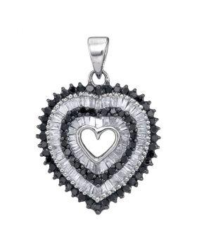 10kt White Gold Womens Round Black Color Enhanced Diamond Framed Heart Pendant 7/8 Cttw
