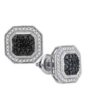 10kt White Gold Womens Round Black Color Enhanced Diamond Geometric Octagon Cluster Earrings 1/2 Cttw