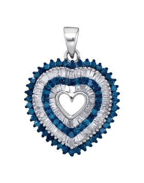 10kt White Gold Womens Round Blue Color Enhanced Diamond Heart Outline Pendant 7/8 Cttw