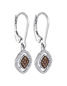 10kt White Gold Womens Round Cognac-brown Color Enhanced Diamond Diagonal Square Dangle Earrings 1/3 Cttw