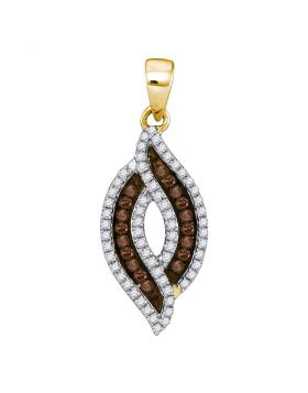 10kt Yellow Gold Womens Round Cognac-brown Color Enhanced Diamond Oval Frame Pendant 1/3 Cttw