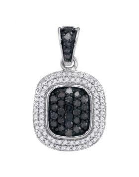 10kt White Gold Womens Round Black Color Enhanced Diamond Square Cluster Pendant 1/2 Cttw