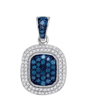 10kt White Gold Womens Round Blue Color Enhanced Diamond Double Rectangle Frame Cluster Pendant 1/2 Cttw