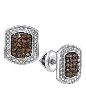 10kt White Gold Womens Round Brown Color Enhanced Diamond Cluster Earrings 1/3 Cttw